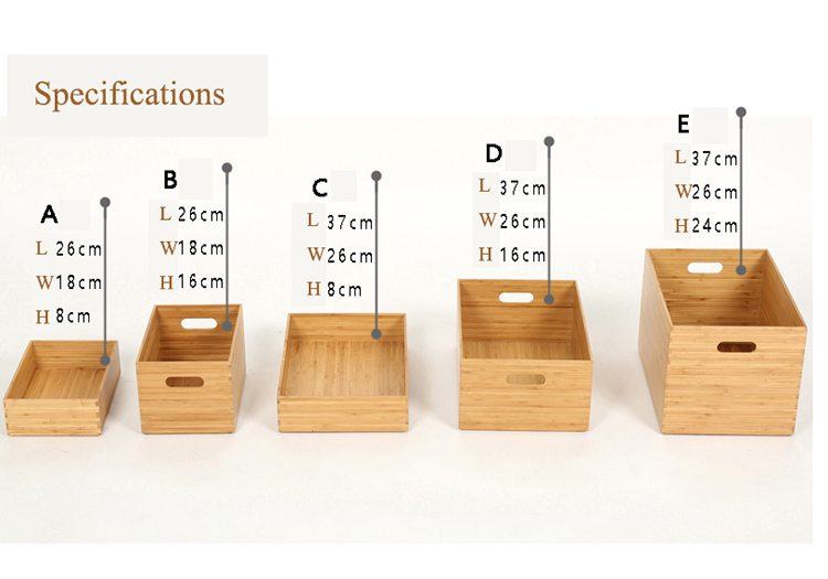 specification for Stackable Bamboo Organizer Boxes