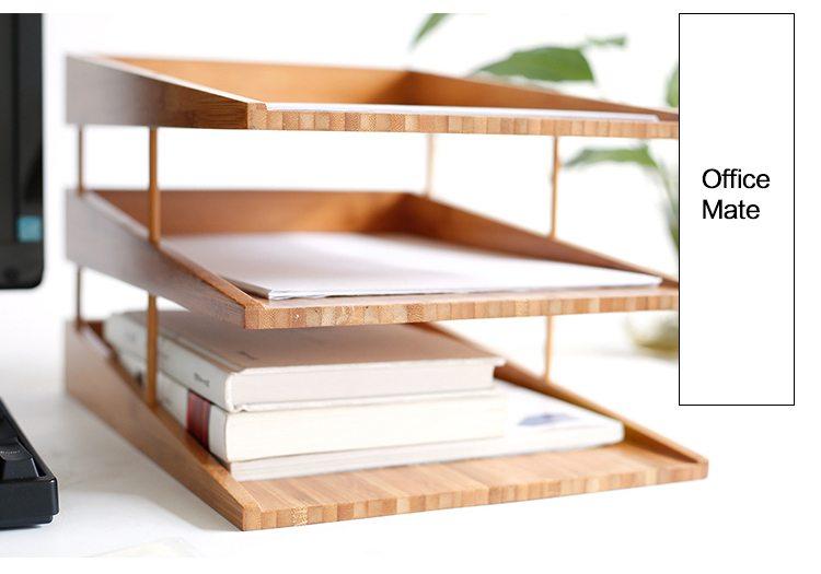 bamboo 3 layer desktop file organizer