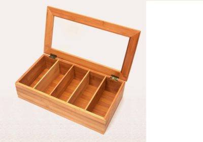 10 compartments bamboo tea bag display box