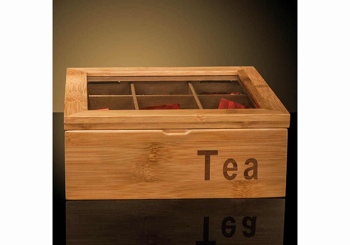 Bamboo Tea Bag Storage Box 9 Compartments Yi Bamboo