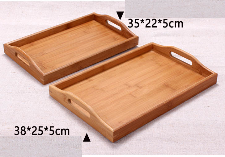 Raised design bamboo serving tray