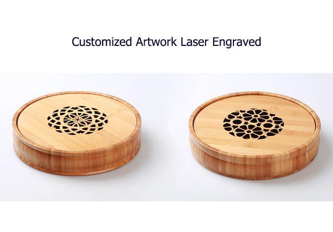 Round storage bamboo tray box
