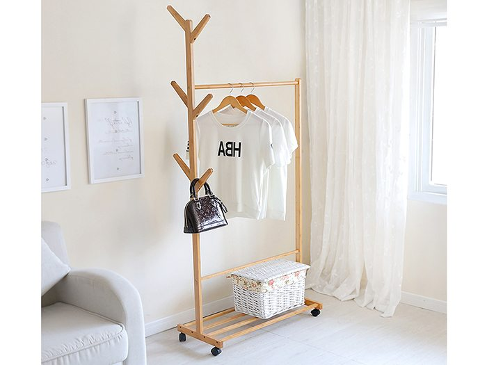 Bamboo Clothes Rail Hallway Coat Stand Shelves Clothing Shoe Storage  sc 1 st  Yi Bamboo & Bamboo Clothes Rail Hallway Coat Stand Shelves Clothing Shoe Storage ...