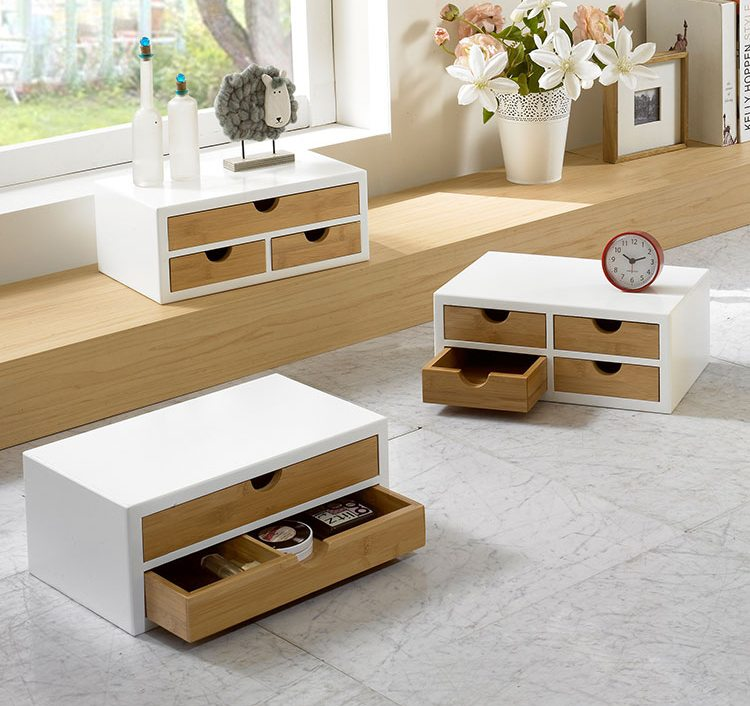 White Box With Bamboo Drawers Tabletop Storage Organizers