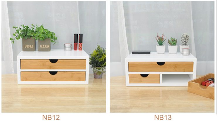 White Frame Box With Bamboo Drawers, Suitable For Tabletop Storage, Elegant  Design.