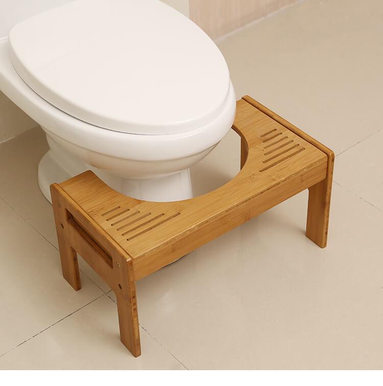 Bamboo toilet stool bathroom squatting footstool yi