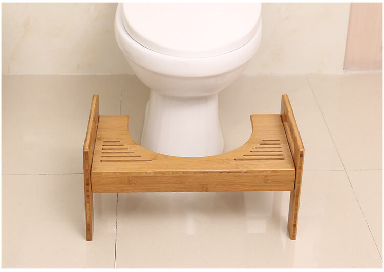 Bamboo Toilet Stool Bathroom Squatting Footstool