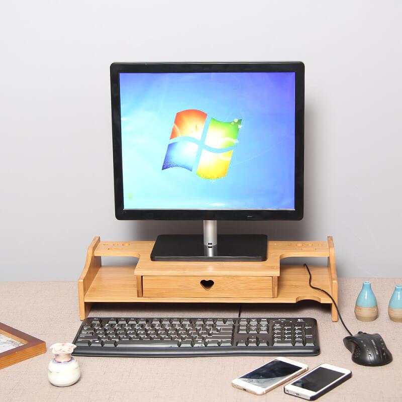 Wooden Computer Laptop Riser Shelf Desktop Monitor Screen Stand