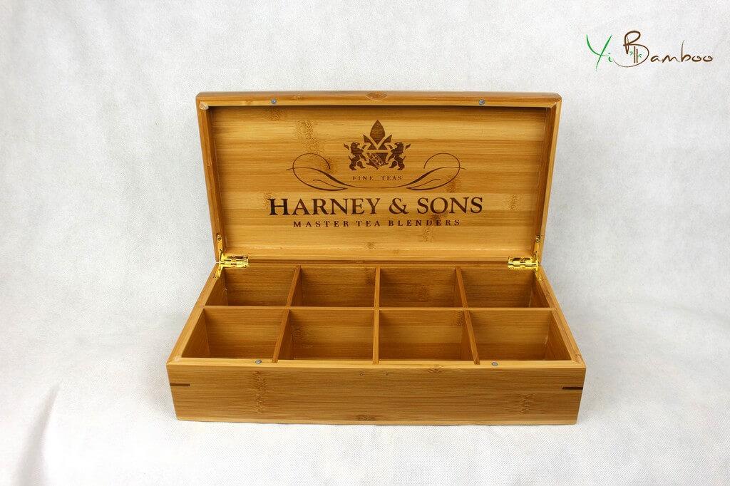 8 compartments tea box bamboo wood