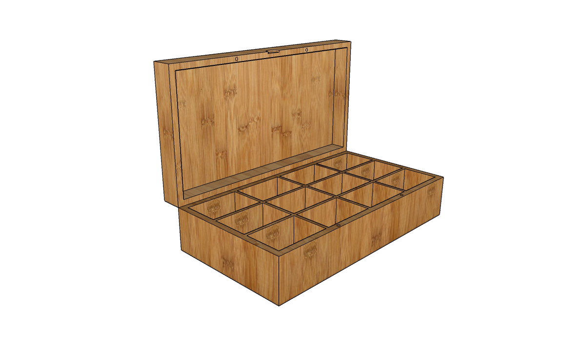 12-compartments wooden box