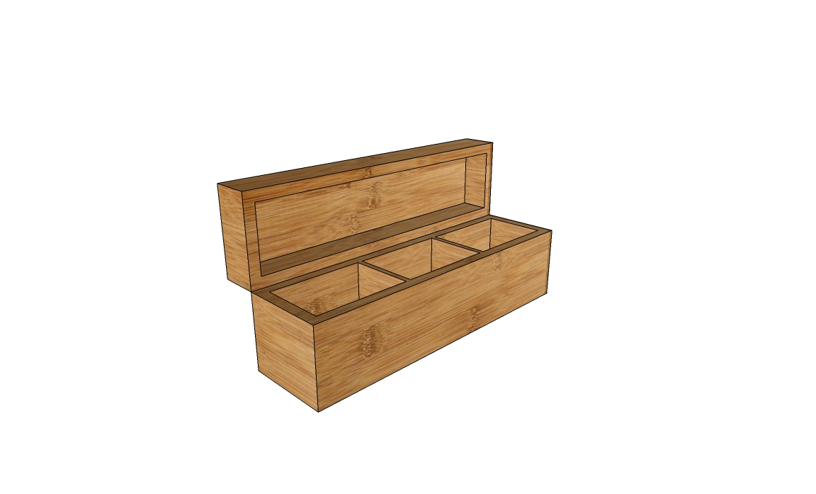 3-compartments tea wooden box