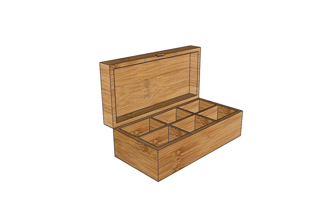 6-compartments wodoen tea box