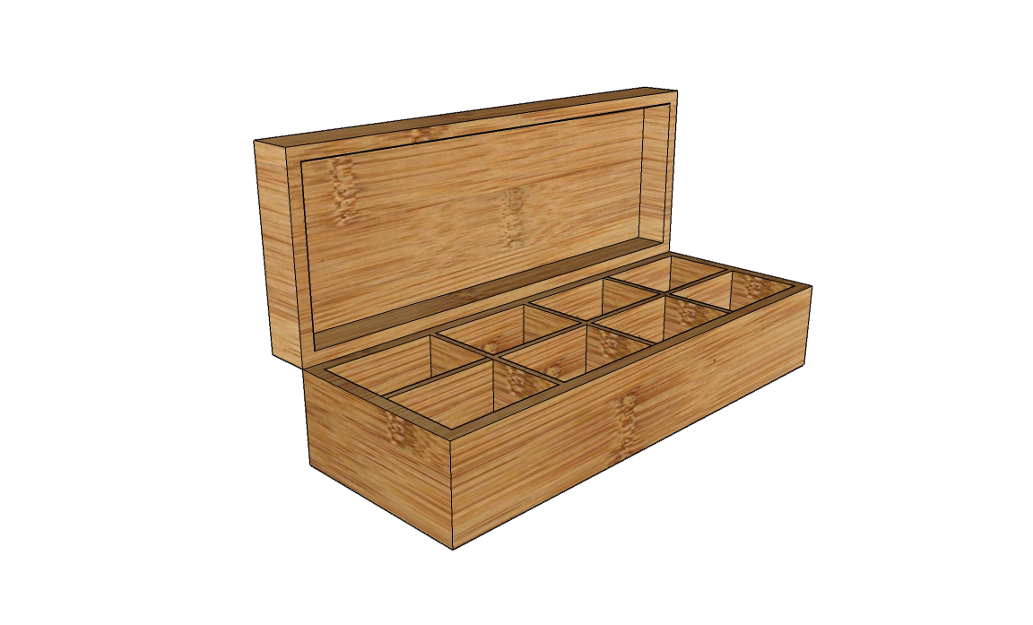 8-compartments wood box