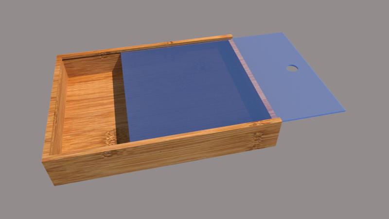 sliding acrylic lid bamboo storage box