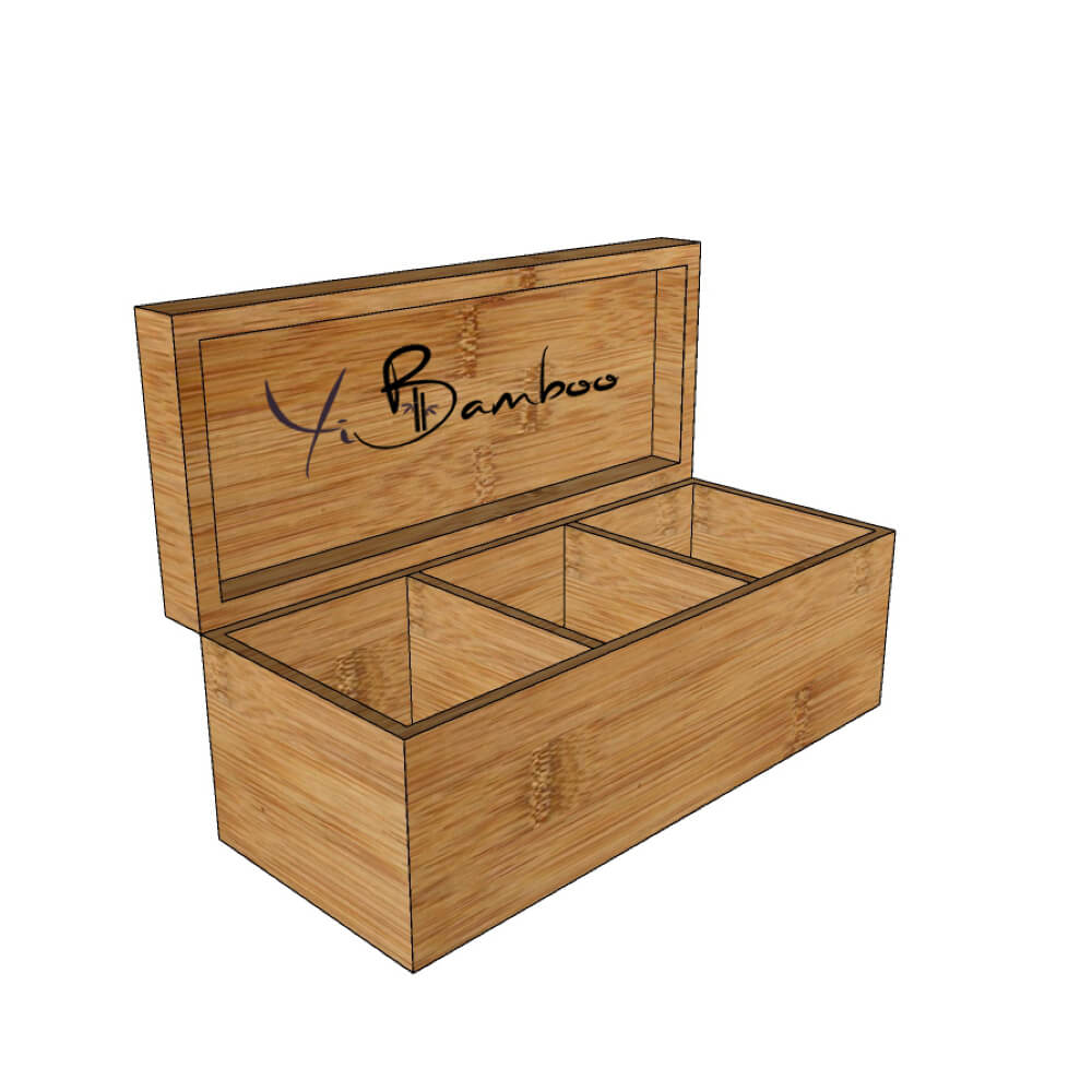 3 compartments wooden tea chest