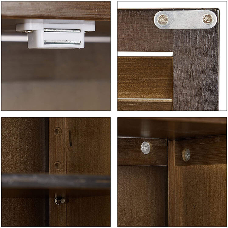 (Black) bamboo bathroom wall cabinet details