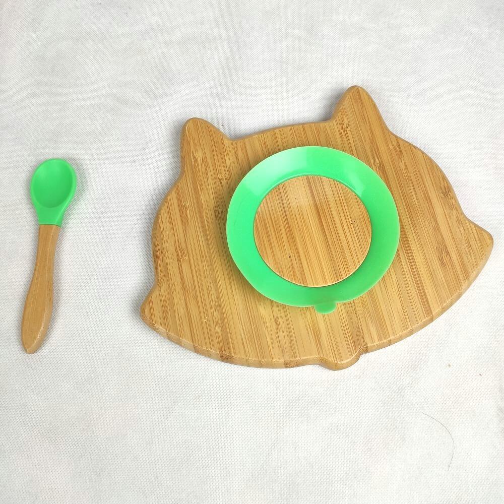 Fox shape bamboo toddler plates