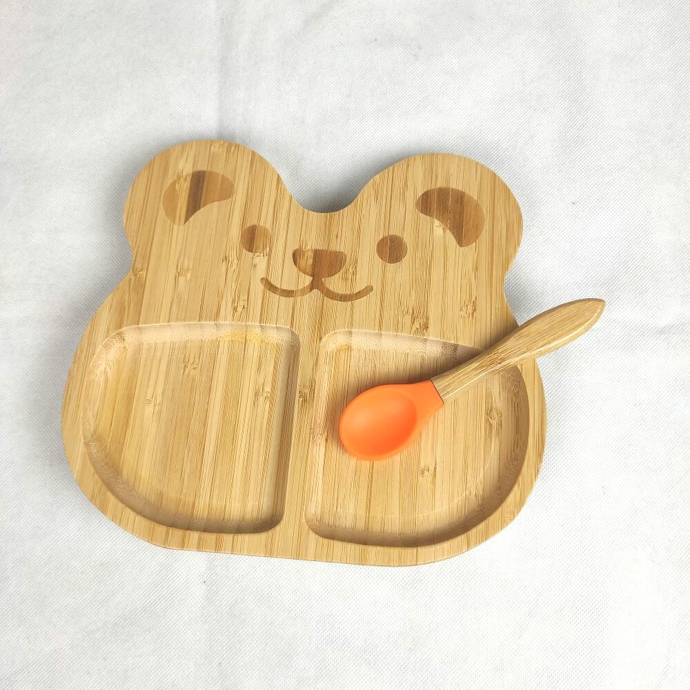 bamboo baby bear plates with silicone suction