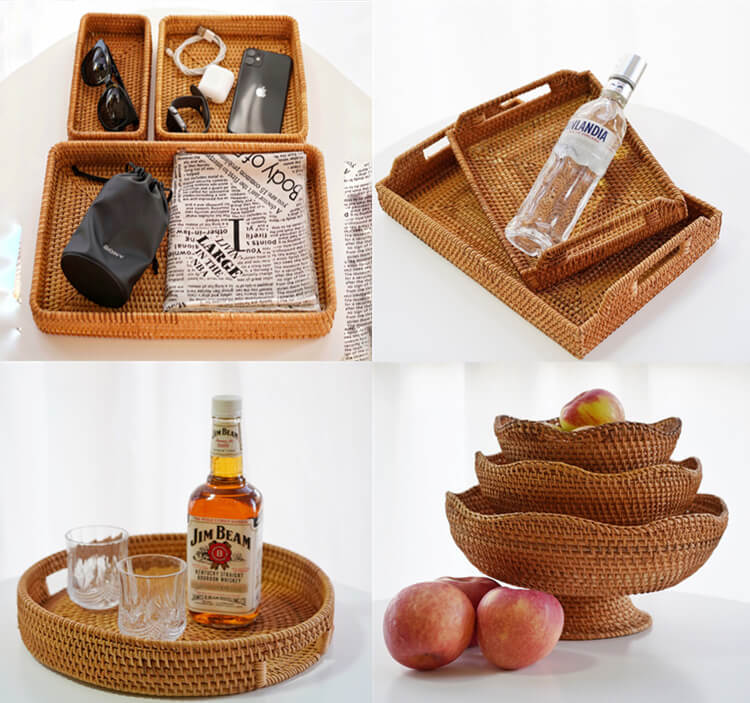 rattan serving tray wholesale