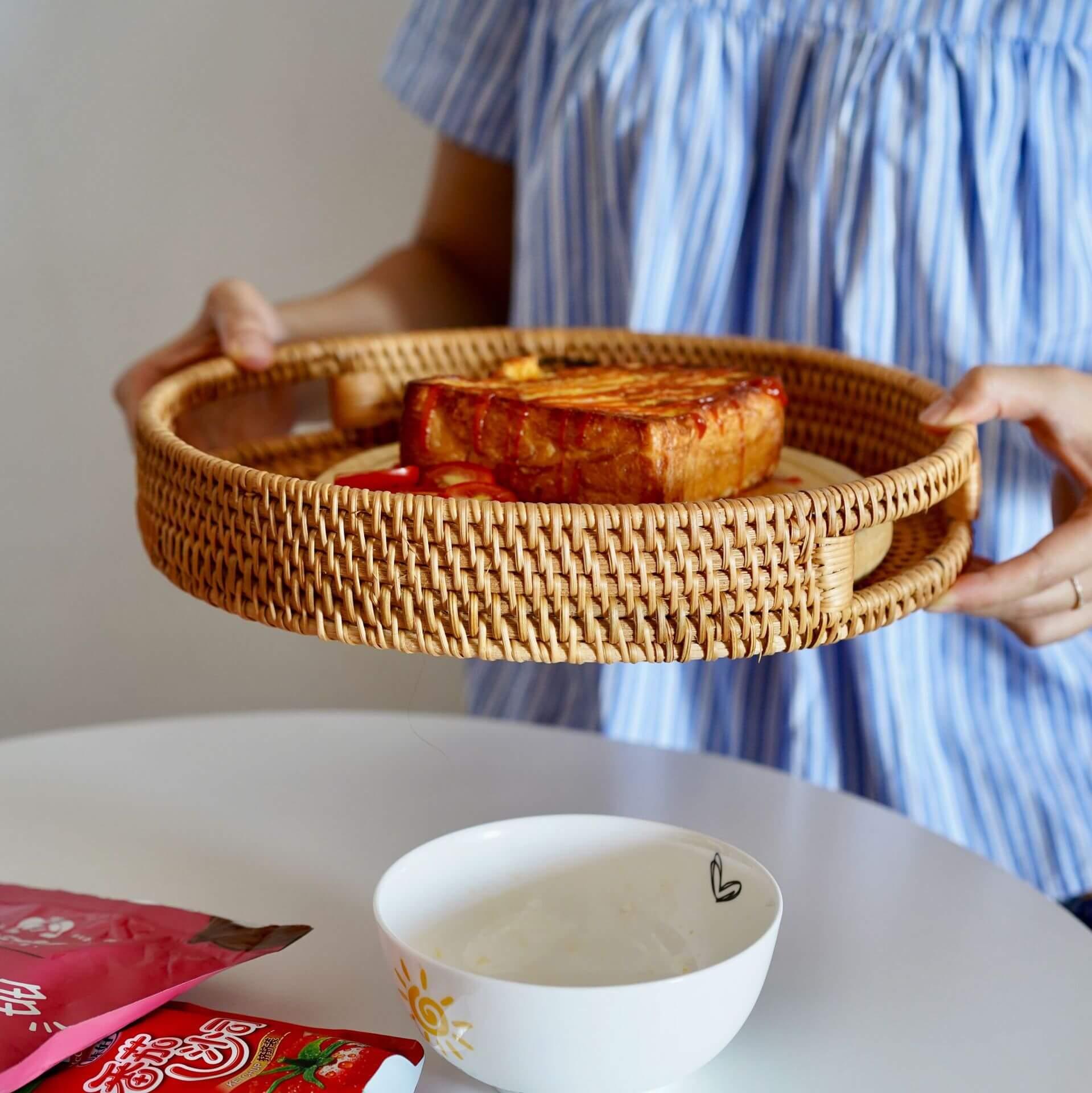 rattan serving tray