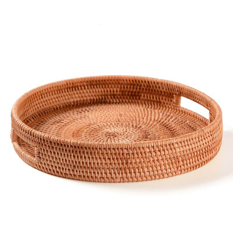 round rattan serving tray