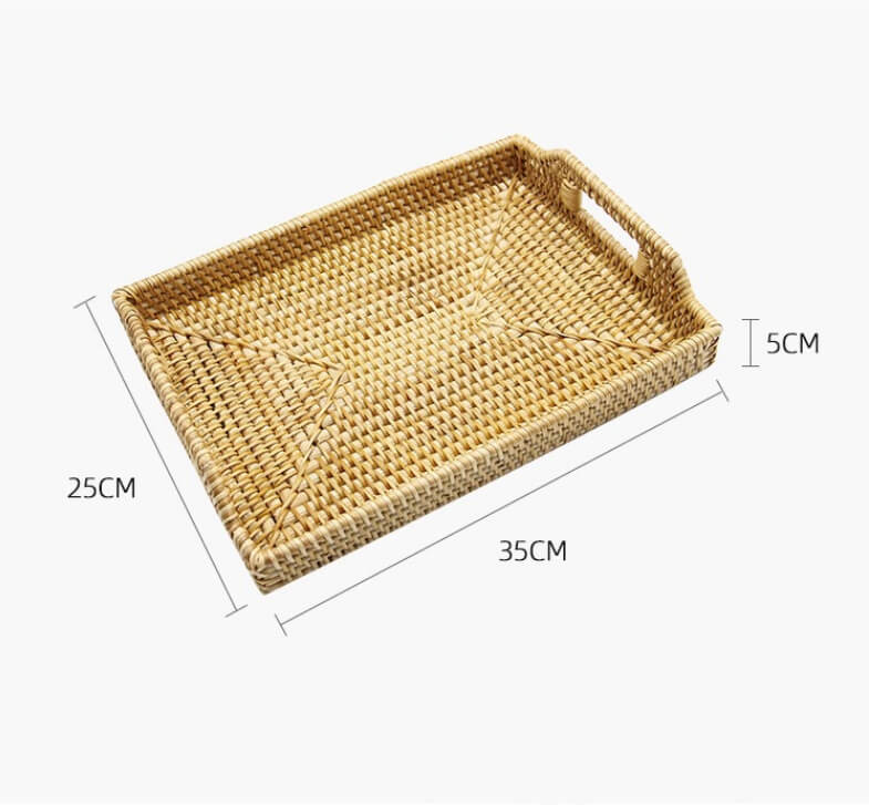 rectangle rattan serving tray with handles